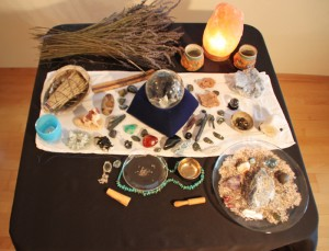 space clearing tools and altar
